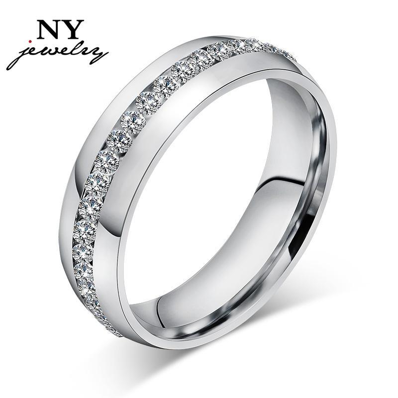 Обручальные кольца высокого качества для женщин, покрытые 18-каратным золотом, с покрытием из прозрачного хрусталя.