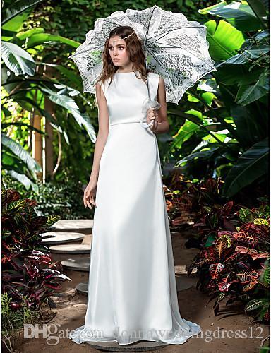 2016 New Fashion Classic Popular Free Shipping Ivory Sweep/Brush Train Bateau Sleeveless Chiffon Sheath/Column Wedding Dresses 161