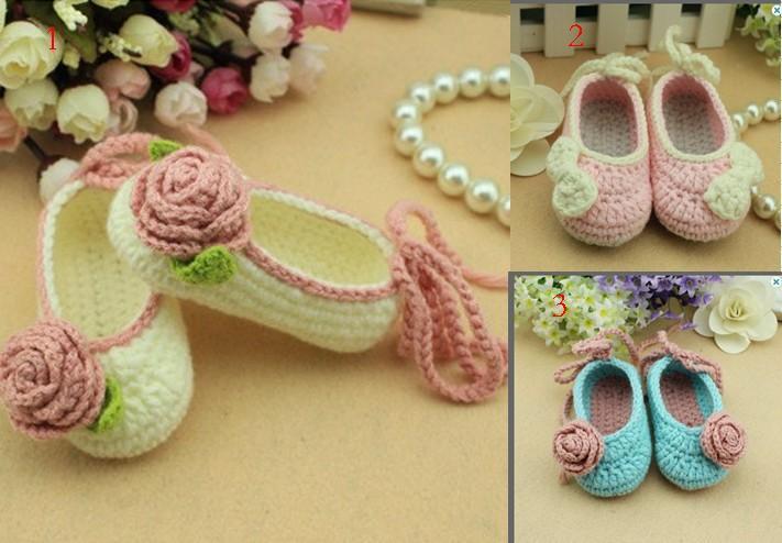 2015 crochet algodón Bhandmade zapatos de bebé, Crochet Baby Booties / soft niño zapatos flores, zapatos de niña, ropa de bebé 0-12M algodón