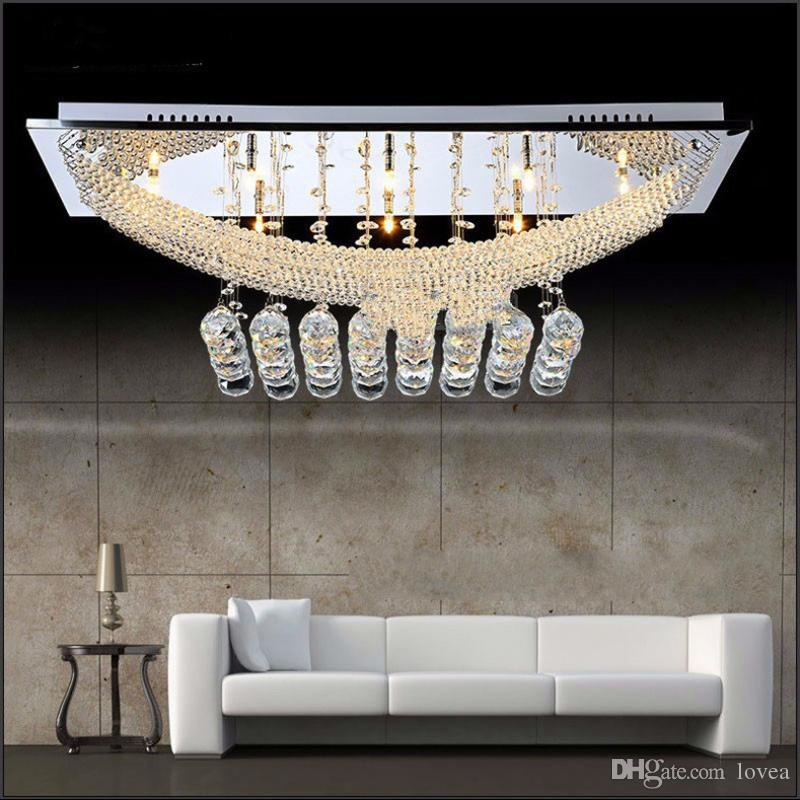 new styles eb478 12ee9 2019 Modern K9 Large Crystal Chandelier Luxury Large Flush Mount Decorative  Hote Project Hall Lobby Lighting Modern Rectangular Hotel Foyer From ...