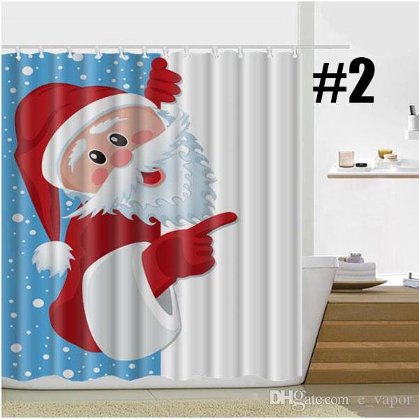 Christmas Fabric Shower Curtains with Hooks Santa Claus Snowman ...