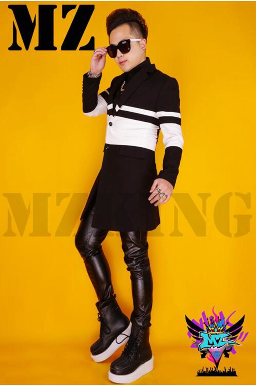 يبدو مغني الذكور ملهى ليلي في المدرج النسخة الكورية معطف الصوف طحن ازياء ضيف المضيف سترة واقية. S - 6 xl
