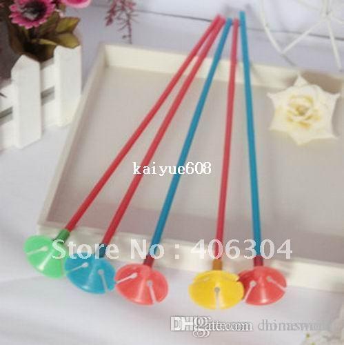 Gratis verzending, groothandel, kleurrijke partij plastic ballon paal ballon houder en beker voor kind