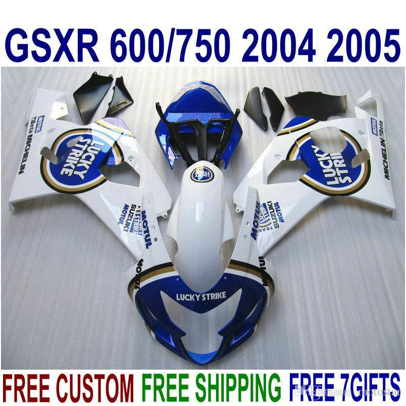 Conjunto de carroçaria de alta qualidade para SUZUKI GSXR600 GSXR750 04 05 carenagens K4 GSX-R600 / 750 2004 2005 azul branco LUCKY STRIKE carenagem kit QE36