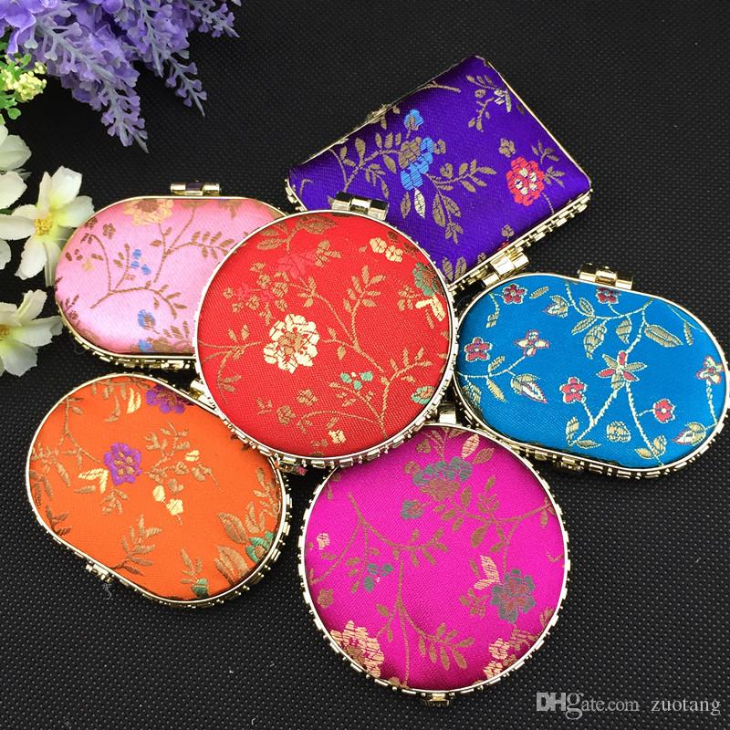 Fashion Portable Makeup Compact Mirror Wedding Favor Folding Silk Fabric Double sided Cosmetic Mirror 50pcs/lot Mix color Free