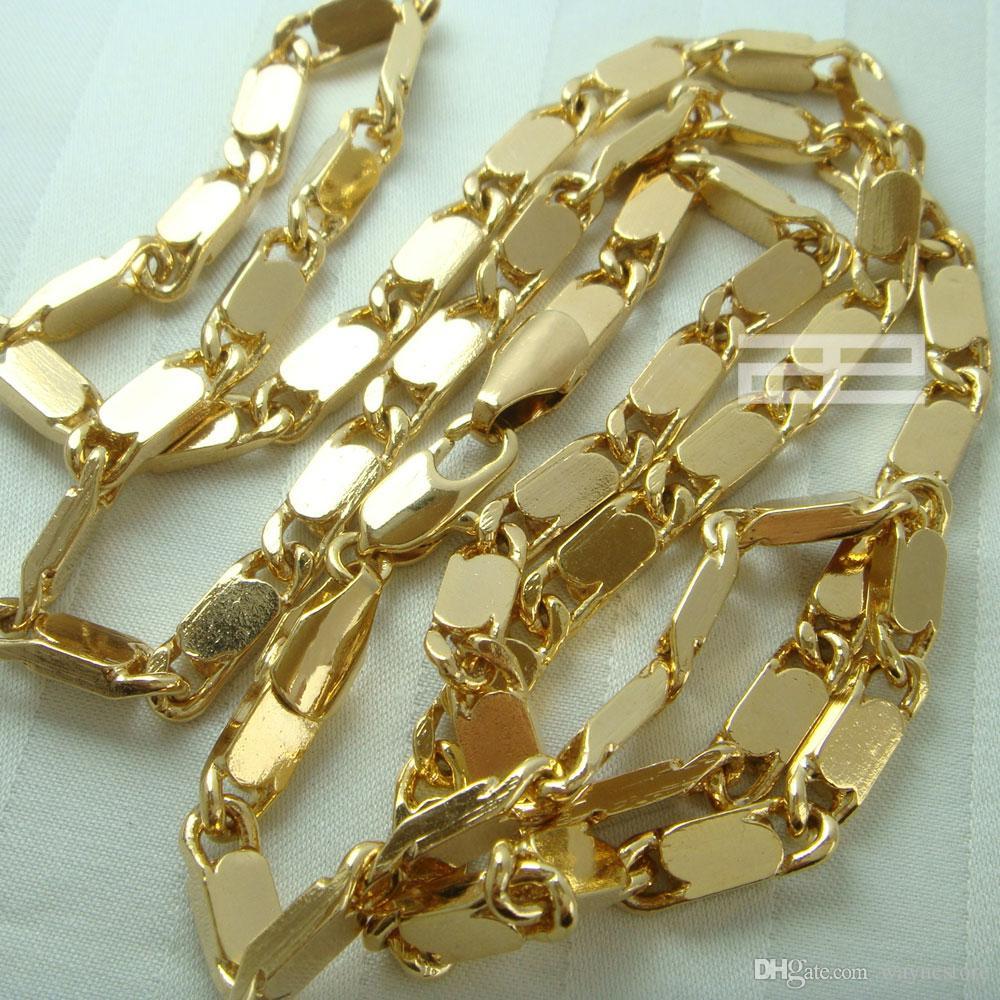 18K 18 kırat altın Yeni Stil 60cm Uzunluk Zincir Kolye N45 Dolgulu