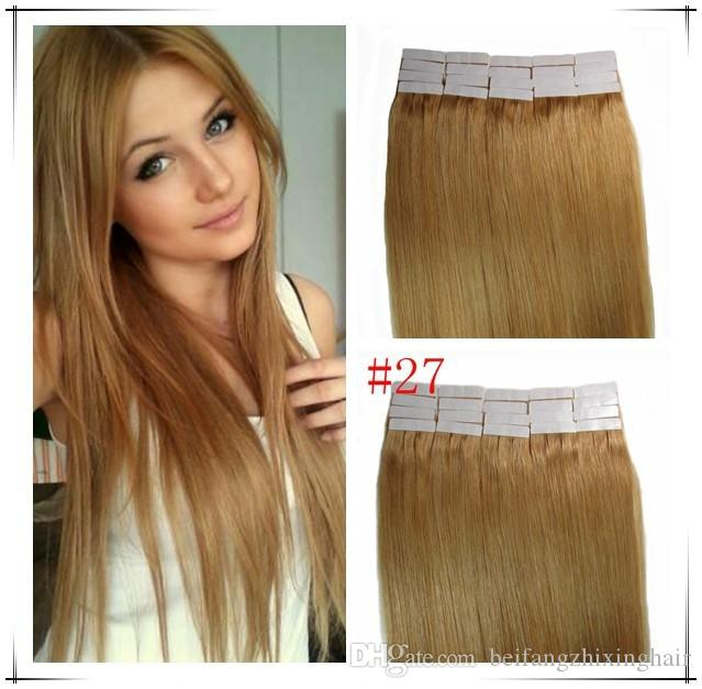 "Wholesale - 14"" - 24"" 100% Human PU EMY Tape Skin Hair Extensions 2.5g/pcs 40pcs&100g/set color #27 dark blonde DHL FREE"