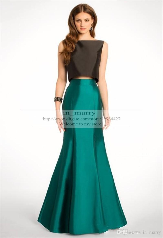 2015 Two Pieces Prom Dresses Mermaid Scoop Black Top Green Skirt ...