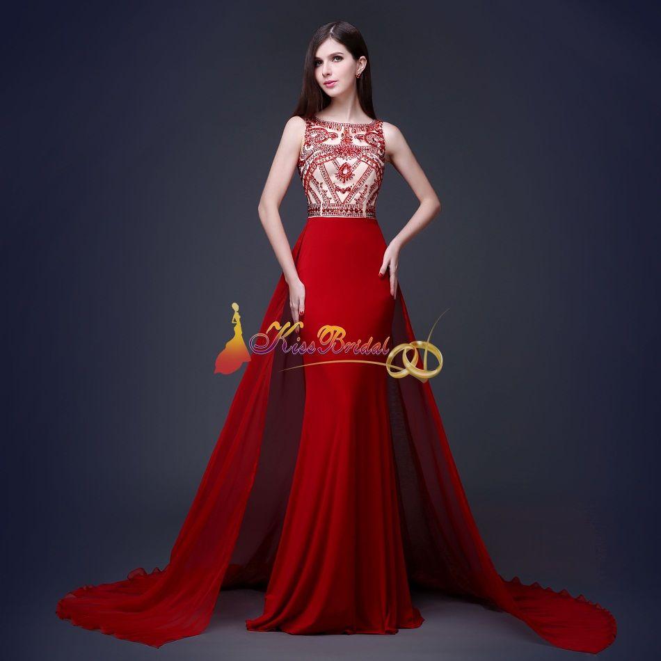 Großhandel 2015 Roter Kristall Wulstiges Abschlussball Kleid ...
