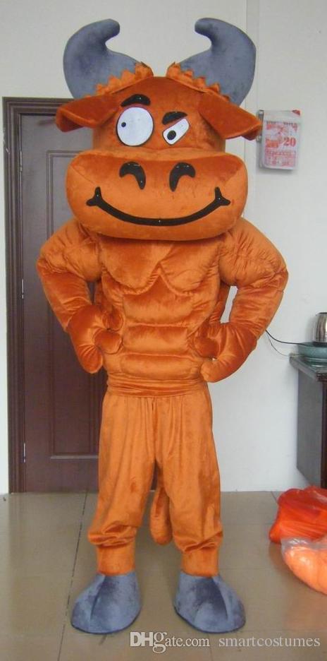 sm0508 100% de vraies photos du costume de mascotte de taureau OX avec muscle pour un adulte