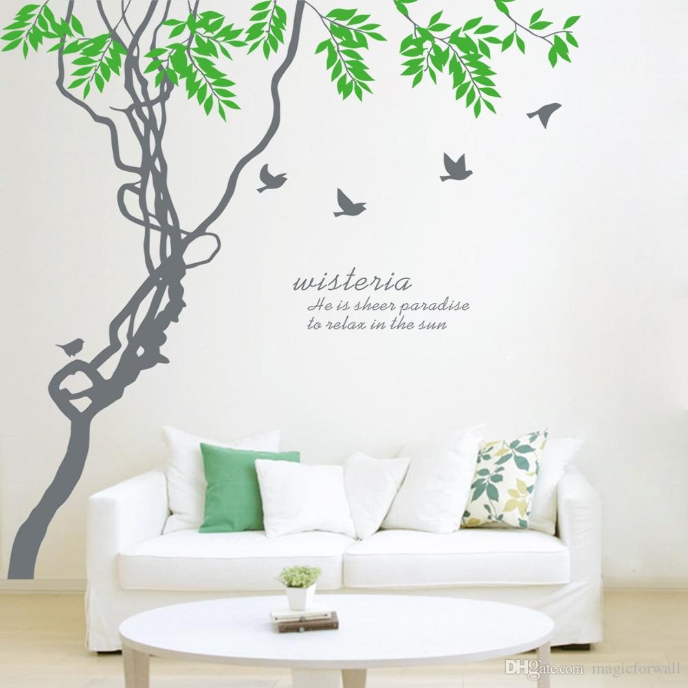 Ivy Leaves Tree Branches Birds Wall Art Mural Decor Sticker Wisteria Wall Quote Decal Poster