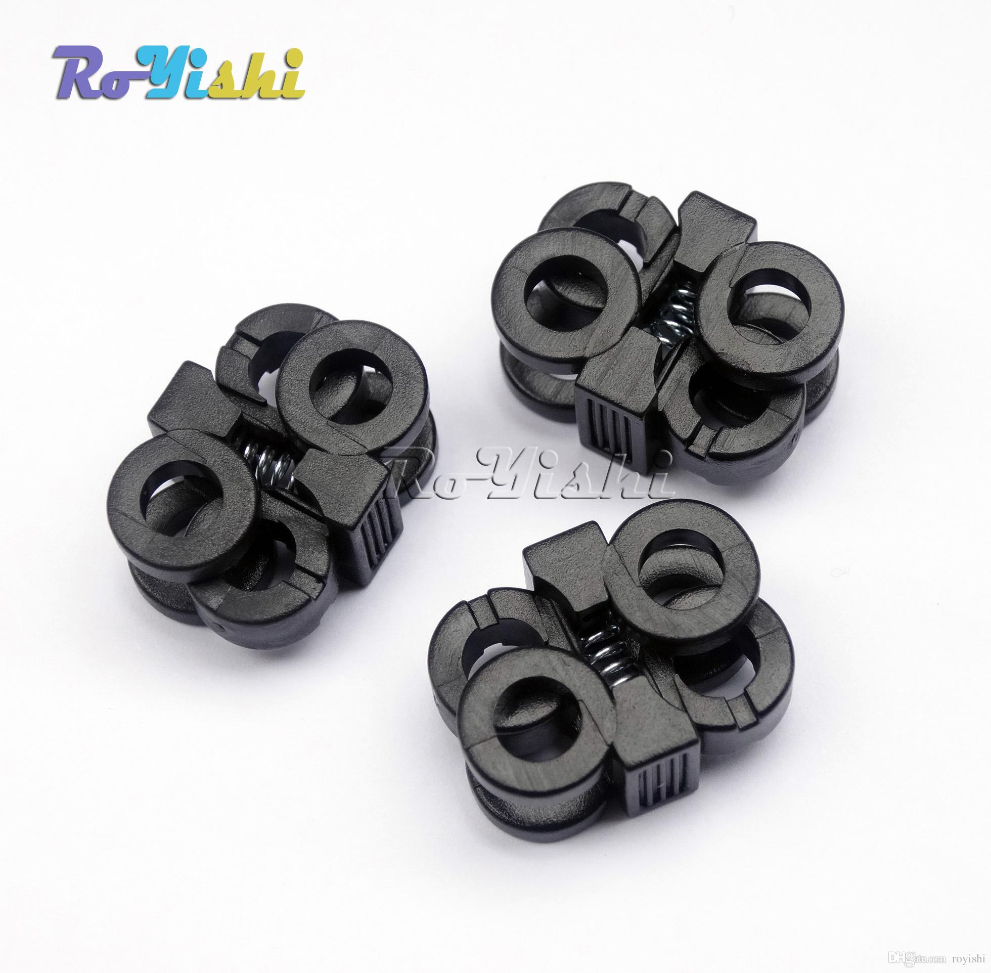 100шт/лот 2 отверстия 5.7 мм шнурки пластиковые пряжки шнур замки переключить пробка черный