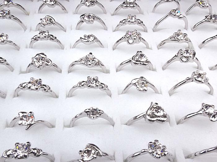 2016 novo barato Hot Sale 100pcs Lotes de jóias por atacado Cubic Zircon Mulheres Silver P Moda Anéis A-165