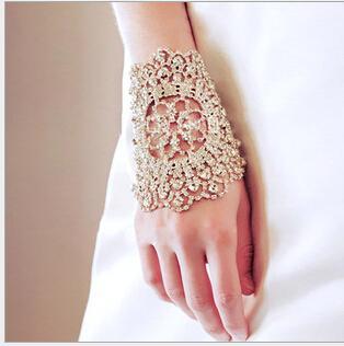 Free Shipping Cheap Elegant Wedding Bridal Gloves Crystal Rhinestone Armlet Chain Ring Bracelet Bangle Gorgeous Party Wristband Armbands