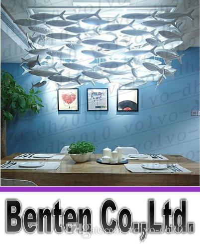 BENCHER Personalizzabile Semplice moda creativo Lampade in ceramica Sala da pranzo Lampadario Pesce Llighting Decorazione Fishes Luci della lampada