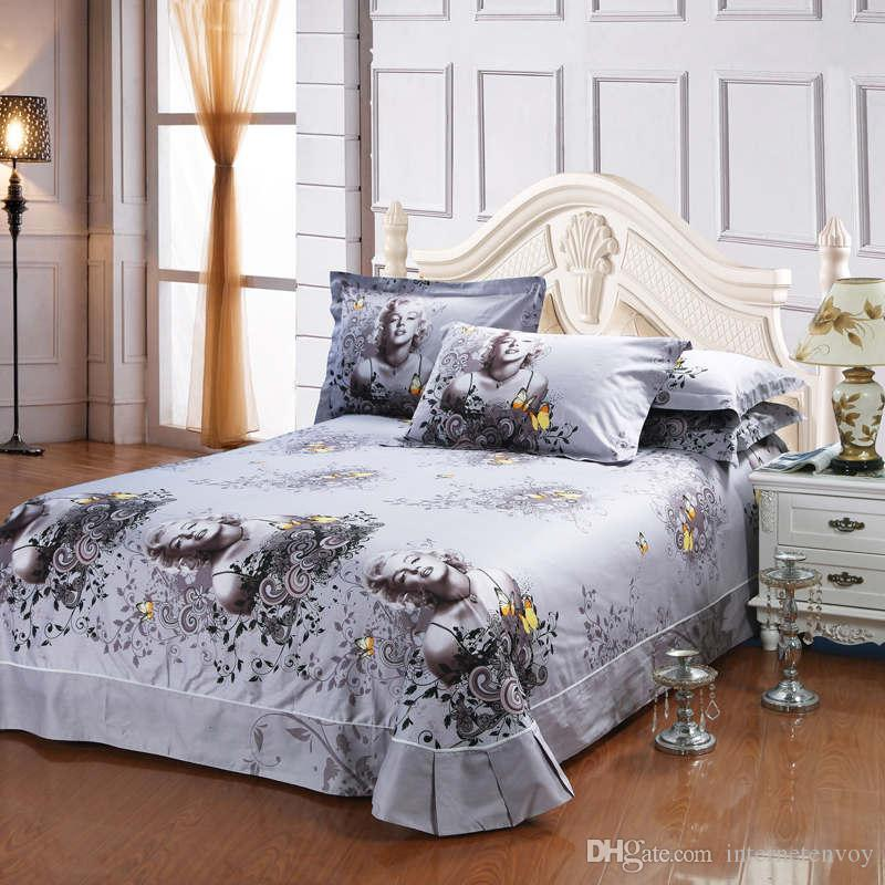 ... Marilyn Monroe Butterfly Oil Painting Bed Duvet Cover Flat Sheet Pillow  Shams Cotton Queen Size 4 ...