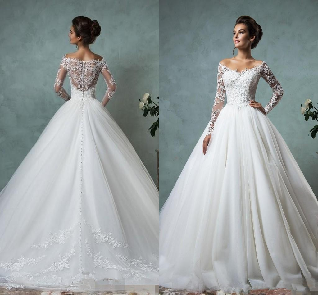 5b57d22a2aaf Emmani 2016 New Cheap Lace Wedding Dresses Long Sleeve Fall Winter Bridal  Gowns Plus Size Sexy Vintage V-Neck Arabic Sheer Tulle Dress