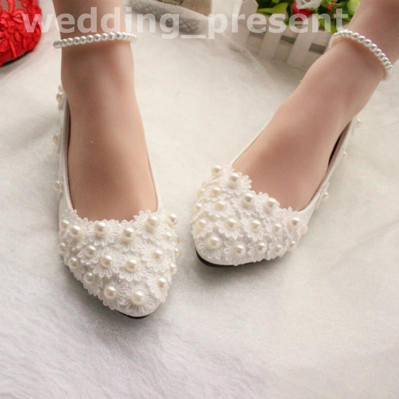Pearls And Lace 2018 Wedding Shoes Flats Bridal Shoes Sweet Comfortable Flatforms Prom Party Shoes With Pearls Anklets Bridal Shoes Au Bridal Shoes