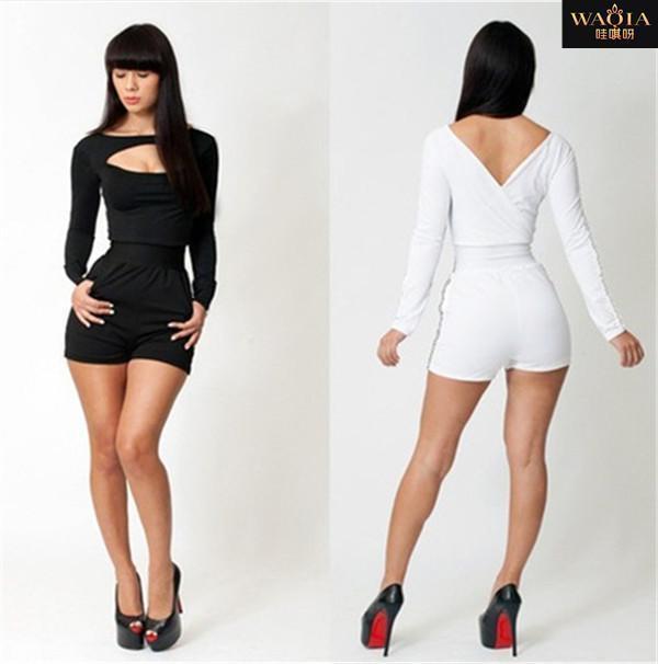 Nuovo arrivo 2015 Hot Europa Style Fashion e Sexy Tute Tute scava fuori Tute 2 colori per le donne spedizione gratuita QA