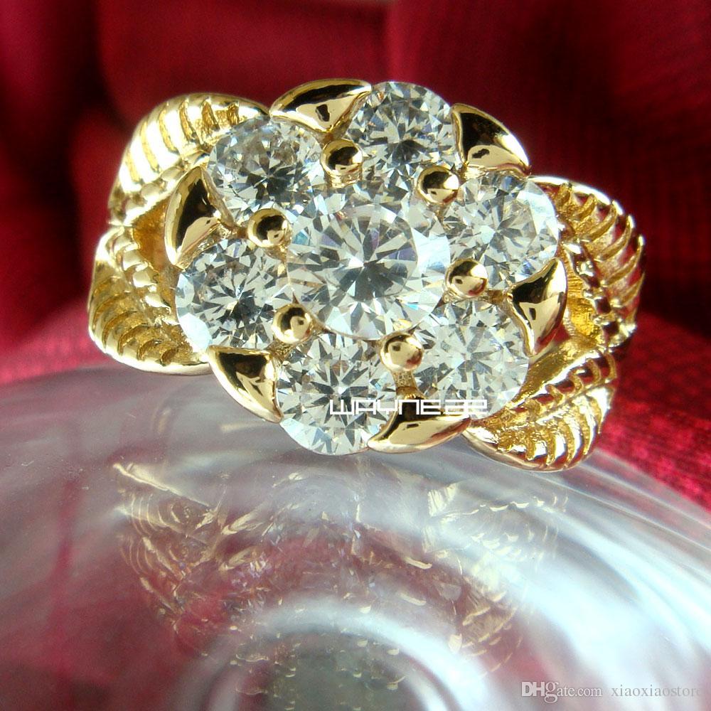 Ювелирные изделия Прозрачный сапфир из 18-каратного золота с цветком, обручальное кольцо, размер O-Q R260
