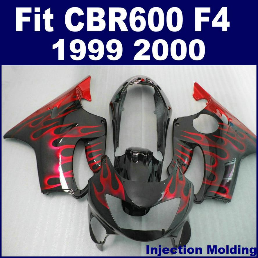 100% road Injection molding for HONDA fairing parts CBR 600 F4 1999 2000 black red flame cbr600 f4 99 00 custom fairing ISDF