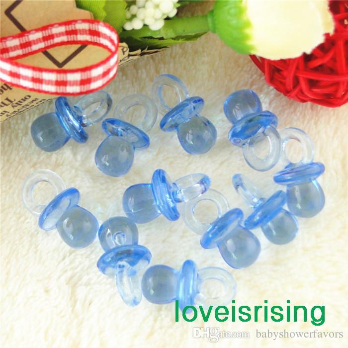 Livraison gratuite - 500pcs Mini acrylique clair bleu clair bébé sucette faveurs de douche de bébé ~ Charms mignons ~ décoration de petit gâteau