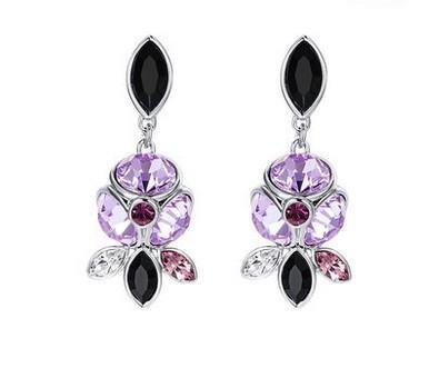 серьги для женщин с фиолетовым бриллиантом (yt-jd) dgdgd