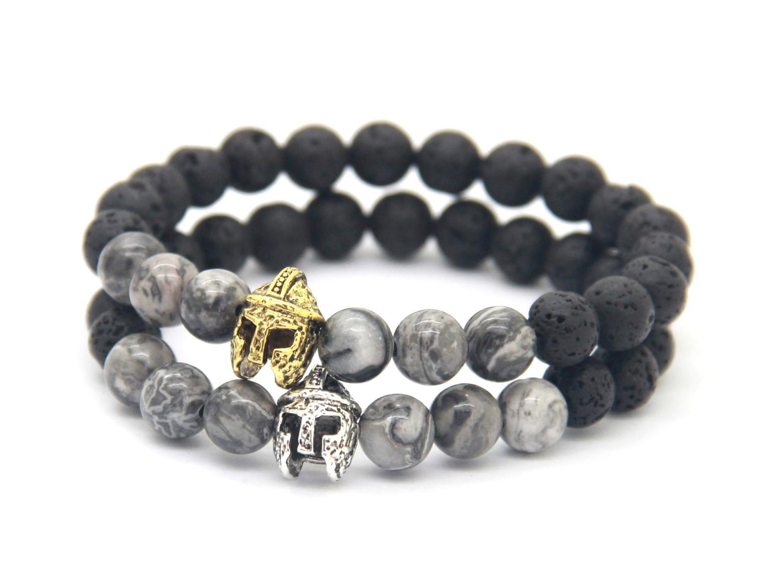 Nieuw ontwerp 8mm lava steen grijs geaderde foto Jasper steen met Romeinse krijger helm armband Spartaanse sieraden voor heren geschenk