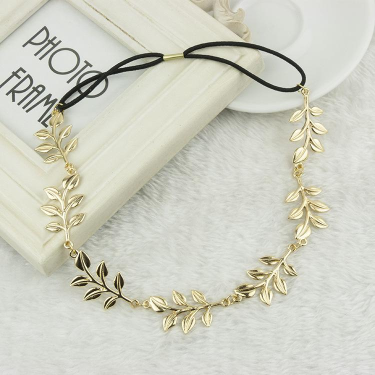 wholesale DHL 120pcs fashion hot style hair band lady gold Olive leaf headband head piece chain leaves golden elastic band head band