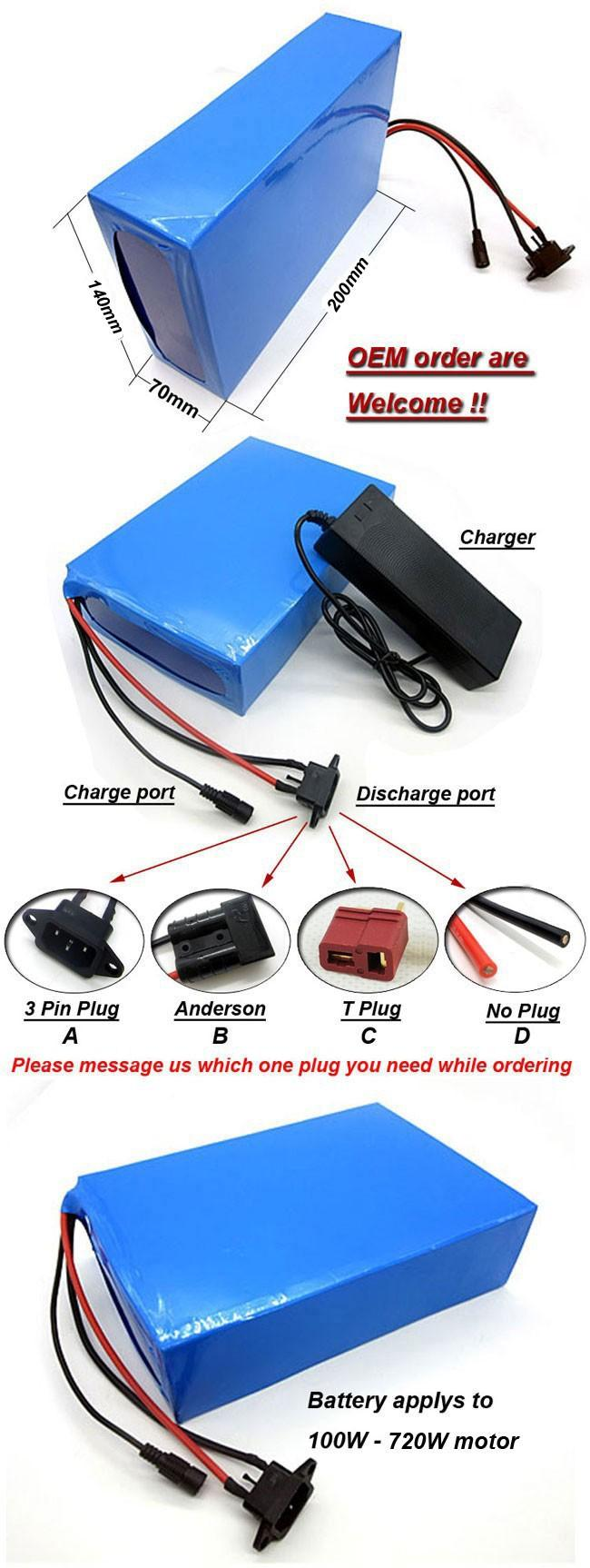 Rechargeable 720W electric bicycle battery pack 24v 30Ah 18650 samsung ebike lithium battery in 30A bms 2A charger
