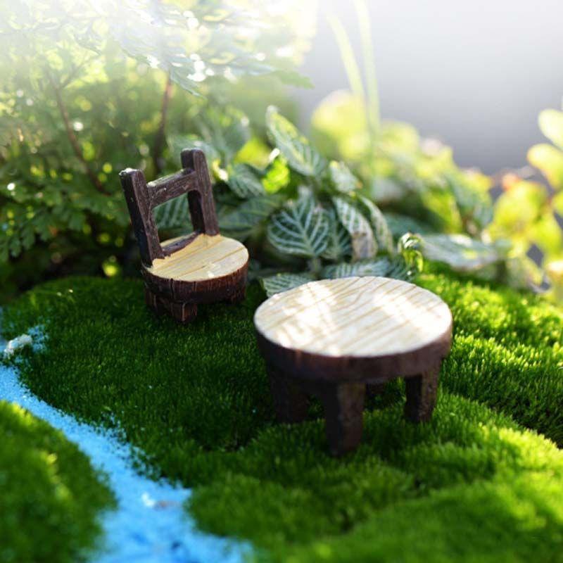 2020 Vintage Table Chair Fairy Garden Decoration Home Decor