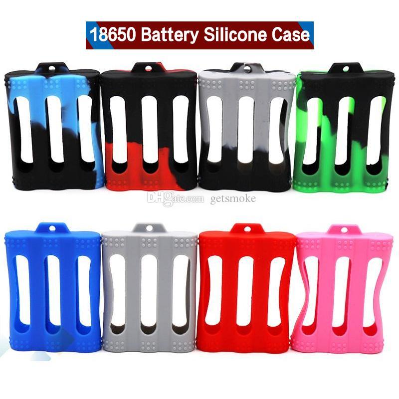 3 pcs 18650 Batería Funda de silicona cubierta protectora de goma Protector de piel para 3pcs 18650 Batería E Cigarrillo colorido DHL libre