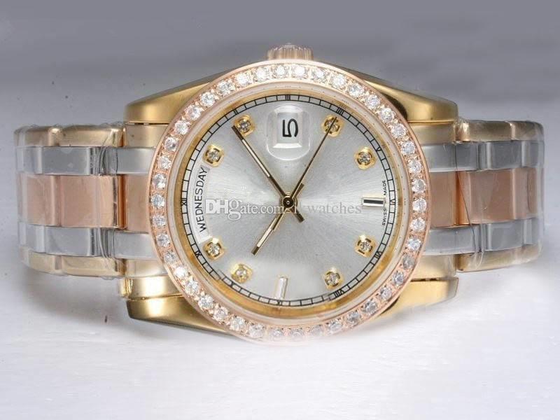 100 % 새로운 패션 남자 고품질의 다이아몬드 베젤 남자 기계 자동 손목 시계 R16을 감시보고