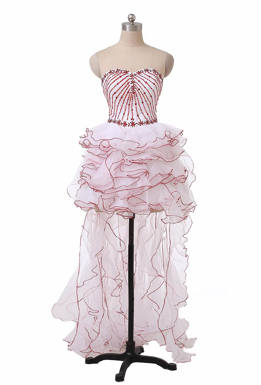 2019 Fashion White and Red High Low Prom Dresses Sweetheart Crystals Beads Organza Short Front Long Back Party Gowns Custom Made P176