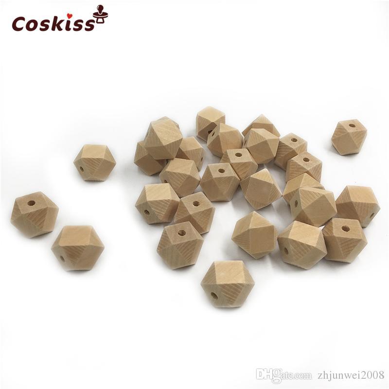 100pcs 크기 0.39in-0.79in (10-20mm) 목제 기하학적 육각형 구슬 DIY를위한 나무로되는 Teether 장난감을 씹는 간호 아기 Teether 부속품