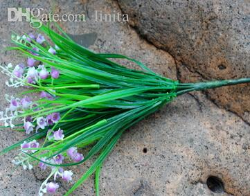 Wholesale-Rustic Green Artificial Plant Bellflowers Plastic Leaf Grass Bush Home Decoration Flowers free shipping