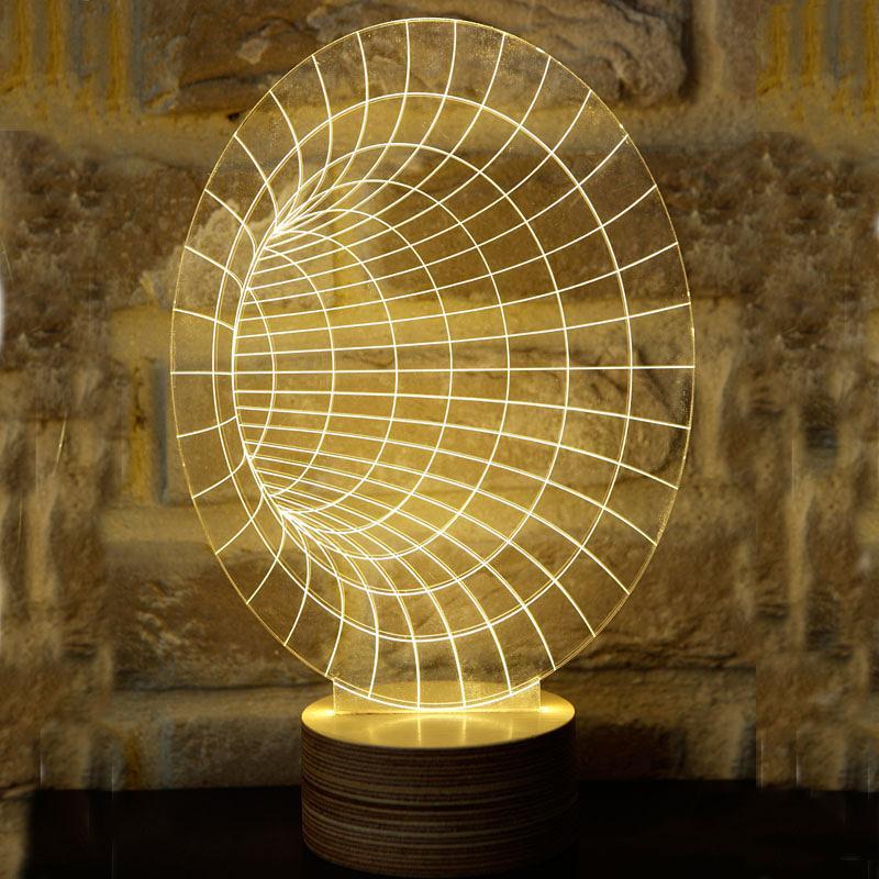 Novelty 3D Optical Illusion LED Table Lamp Lighting With Wood Base Desk  Lamp Night Light Best ...