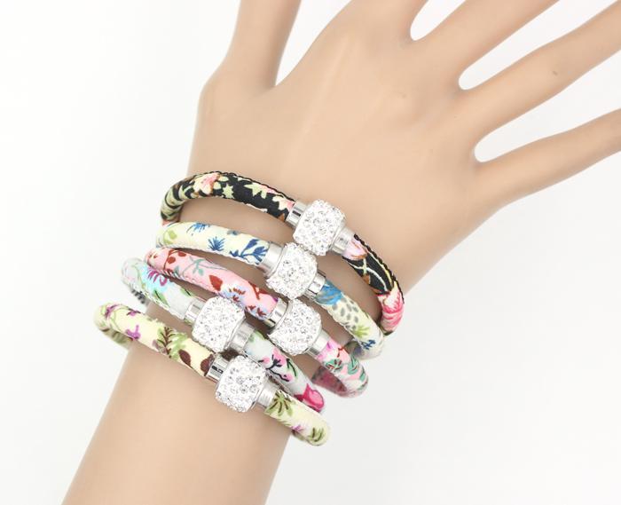 Mix 5 цветов новый кристалл шарик цветок печатных ткани веревки браслет и Кристалл магнитные ближе бисера браслеты для женщин