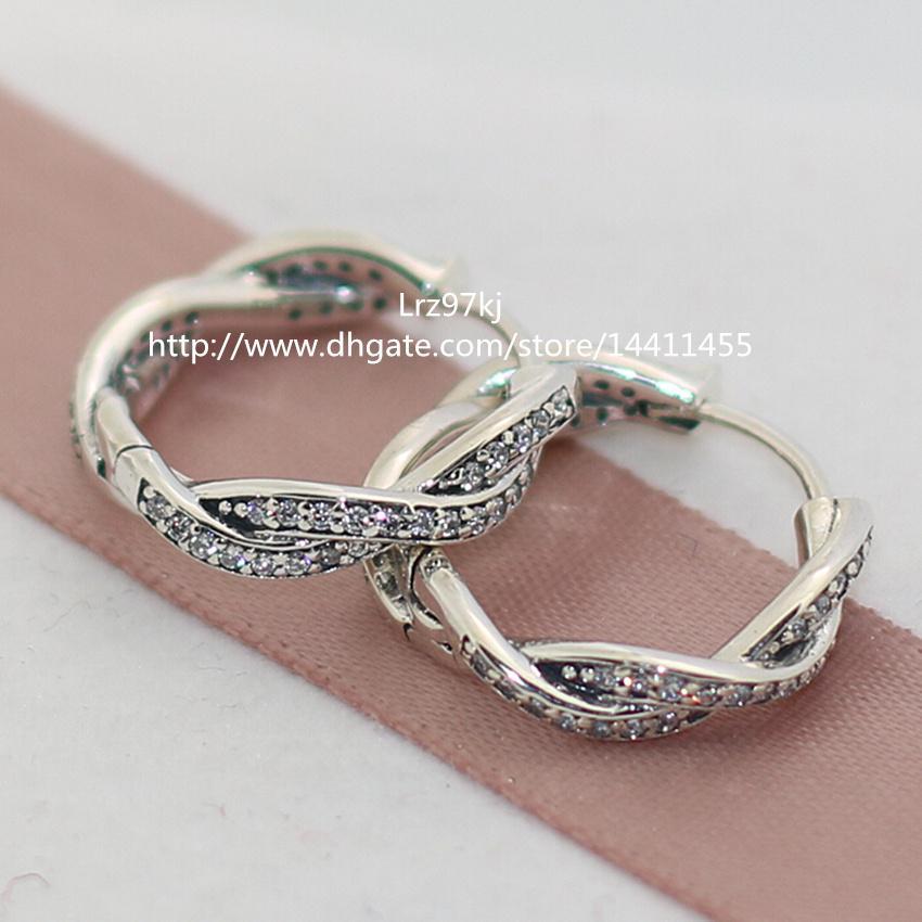100% hoogwaardige 925 sterling zilveren twist van het lot met duidelijke CZ-hoepel oorbellen past Europese pandora sieraden ring