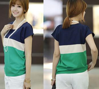 Summer Women/'s Casual Tops Blouse Short Sleeve O-Neck Color Block Loose T-Shirt