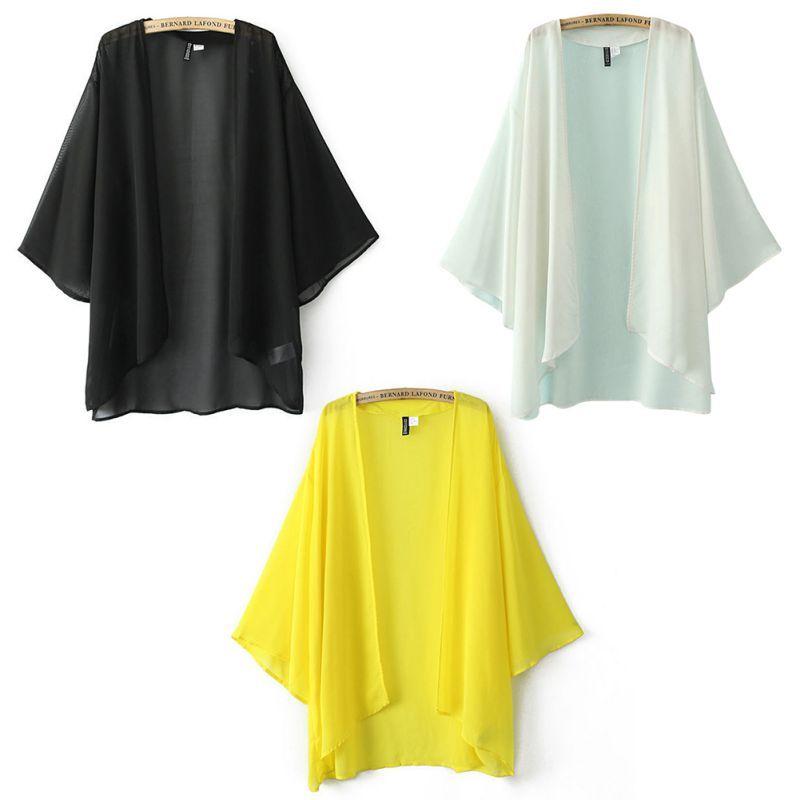 Al por mayor-sexy primavera mujeres sueltas gasa Bikini cubrir UP Kaftan Cardigan kimono blusa Outwear JL46 Nuevo