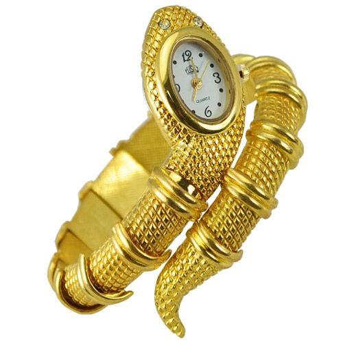 Nuove donne alla moda Signore a forma di serpente Bracciale Bangle Ornamenti Movimento al quarzo Orologio da polso Relogio Feminino Gold
