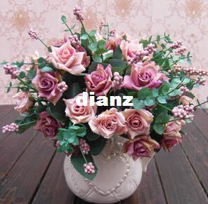 Элегантный масляной живописи стиль искусственные розы шелковые цветы 10 цветок глава цветочный свадебный сад декор DIY украшения
