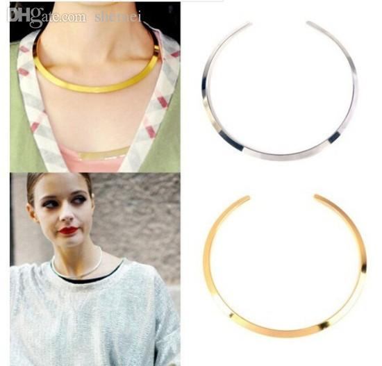 Wholesale-Fashion Womens Gold Silver Tone Curved Mirrored Metal Choker Collar Mottled Bib Necklace