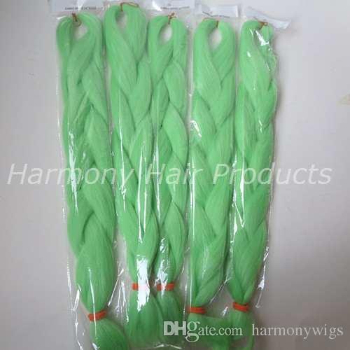 Kanekalon Jumbo плетение волос 24 дюйма Сложенные 80 грамм Solid PISTACHIO GREEN Одноцветные синтетические косы Xpression Наращивание волос T0220