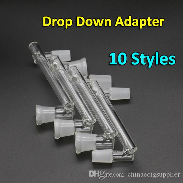 Best Design Glass 18mm Male 14mm Female Drop Down Glass Pipe Drop Down Glass Adapter for Glass Water Pipes
