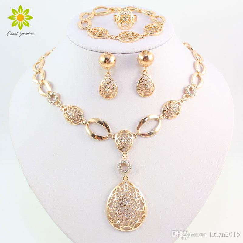 Fashion Vintage Clear Crystal Gold Plated African Bridal Costume Jewelry Sets Nigerian Wedding Water Drop Necklace Earrings Set
