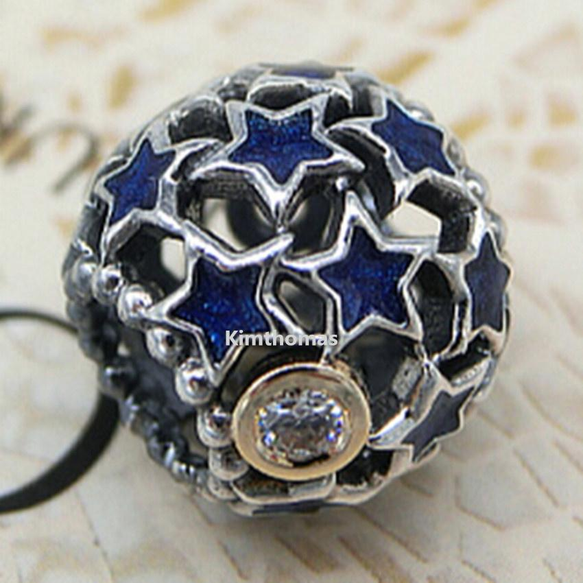 Plata de ley 925 14K Real Gold Night Sky Charm Bead Con Esmalte Azul Se Adapta al Estilo Pandora Europeo Joyería Pulseras Collares Colgantes