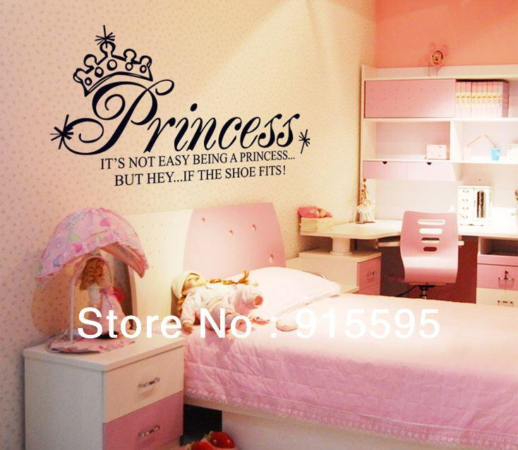 crown not easy being princessblack vinyl letters wall art stickersvinyl wall decal quoteshome decor 65130cm reusable wall decals reusable wall stickers