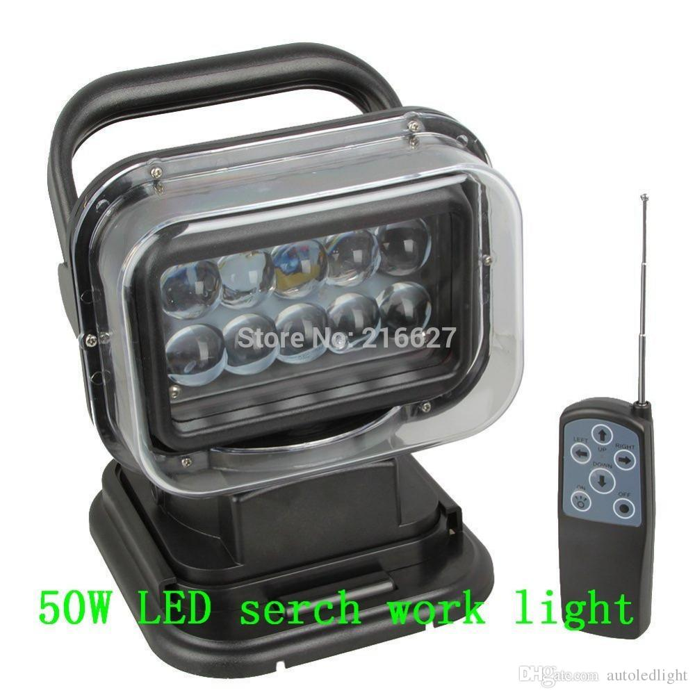 rotating spot lights xenon white ROTATING 50W LED SEARCH LIGHT REMOTE CONTROL SPOT WORKING HUNTING BOAT